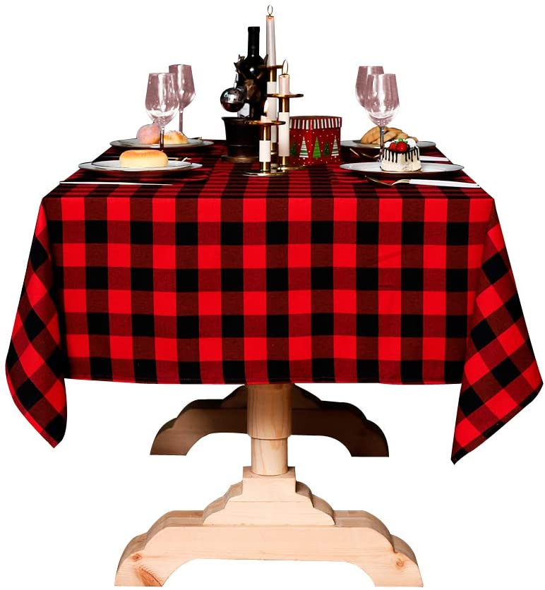 N/P Premium Checkered Tablecloths 55x86 Inch Rectangle Heavy Weight Cotton Linen Plaid Tablecloth for Outdoor Picnic,Kitchen and Party Dinner,Black and White Gingham Pattern (5586, Red)