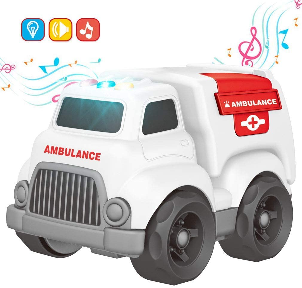 Toy Cars for Toddler, Ambulance with Lights and Sounds, Educational Toy Car for Children, Ambulance Imaginative Play Toy Great Gift for 3 4 5 6 7 8 Year Old Kids, White