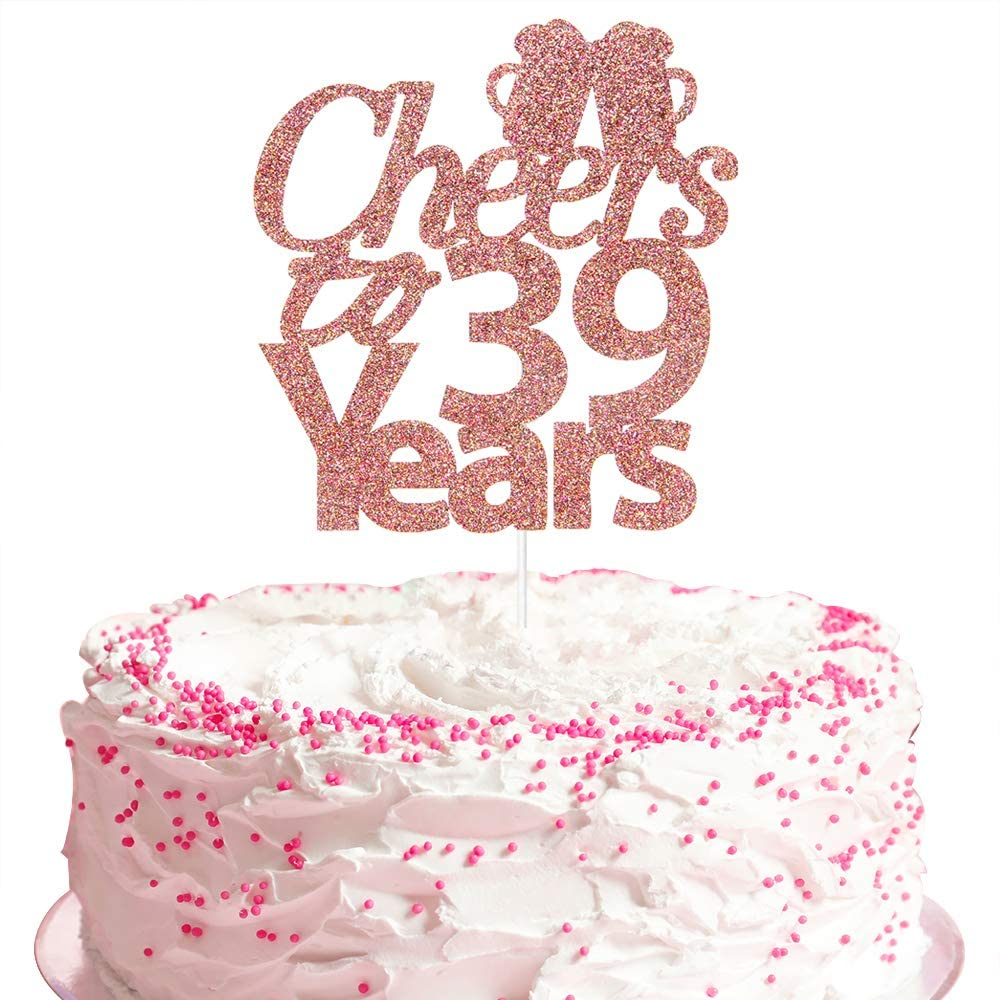 Cheers to 39 Years Cake Topper, Happy 39th Birthday Hello 39 Beers to 39 Years 39th Anniversary Party Decoration - Rose Gold
