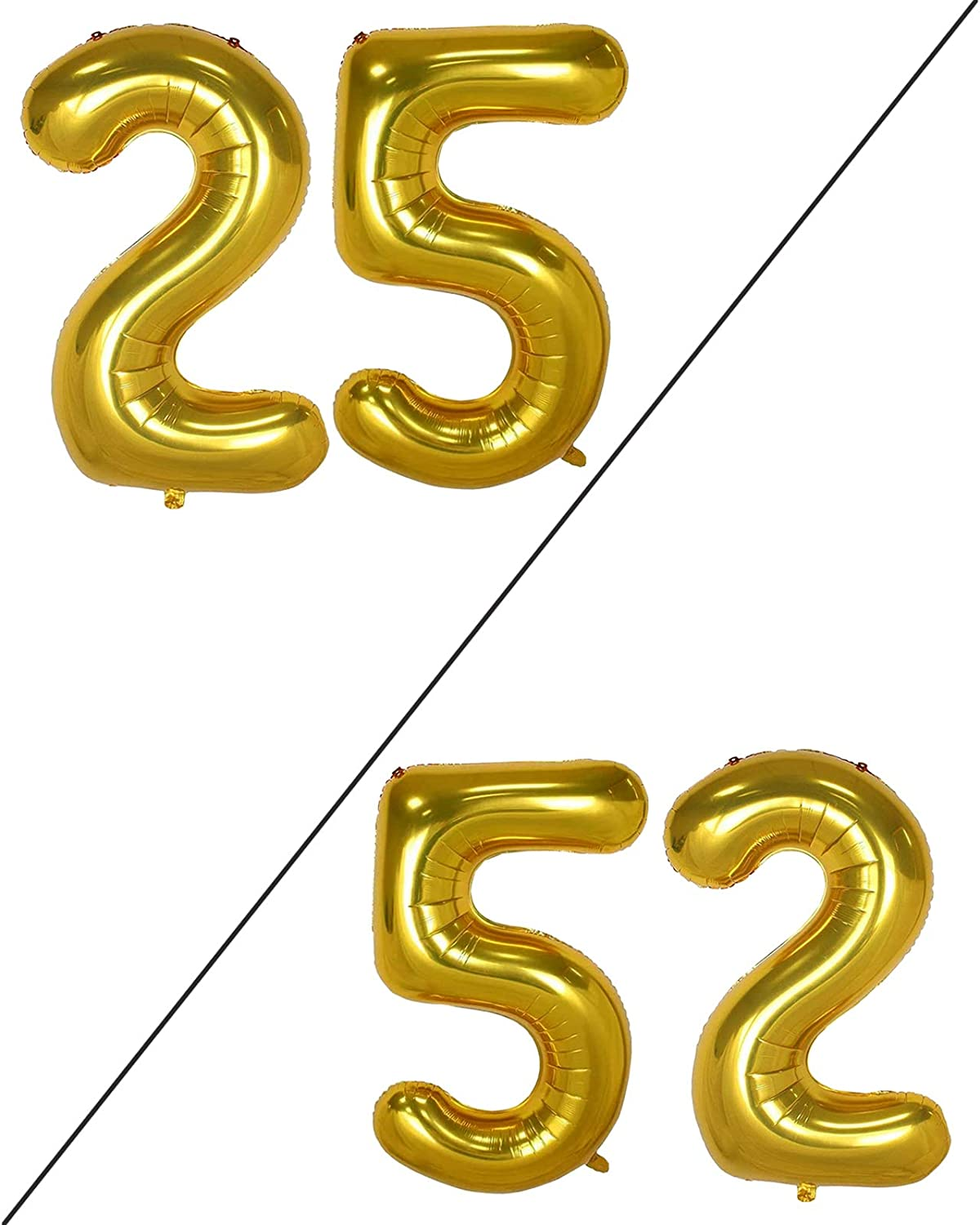 AULE 40 Inch Large 25 Number Balloons Gold, Big Foil Number Balloons, Giant Helium Happy 25th Birthday Party Decorations for Man and Women, Huge Mylar Anniversary Party Supplies
