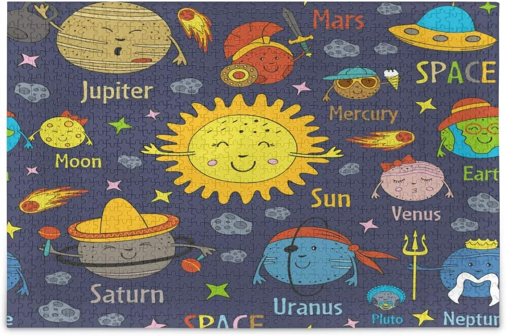 Solar System and Planets Jigsaw Puzzles for Adults Kids DIY Gift 500 Piece with Mesh Storage Bag
