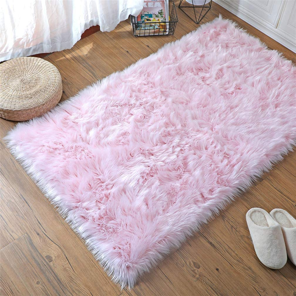 HLZHOU Soft Faux Fur Rug White Sheepskin Chair Cover Seat Pad Shaggy Area Rugs for Bedroom Sofa Living Room Floor (3x5 Feet, Pink)