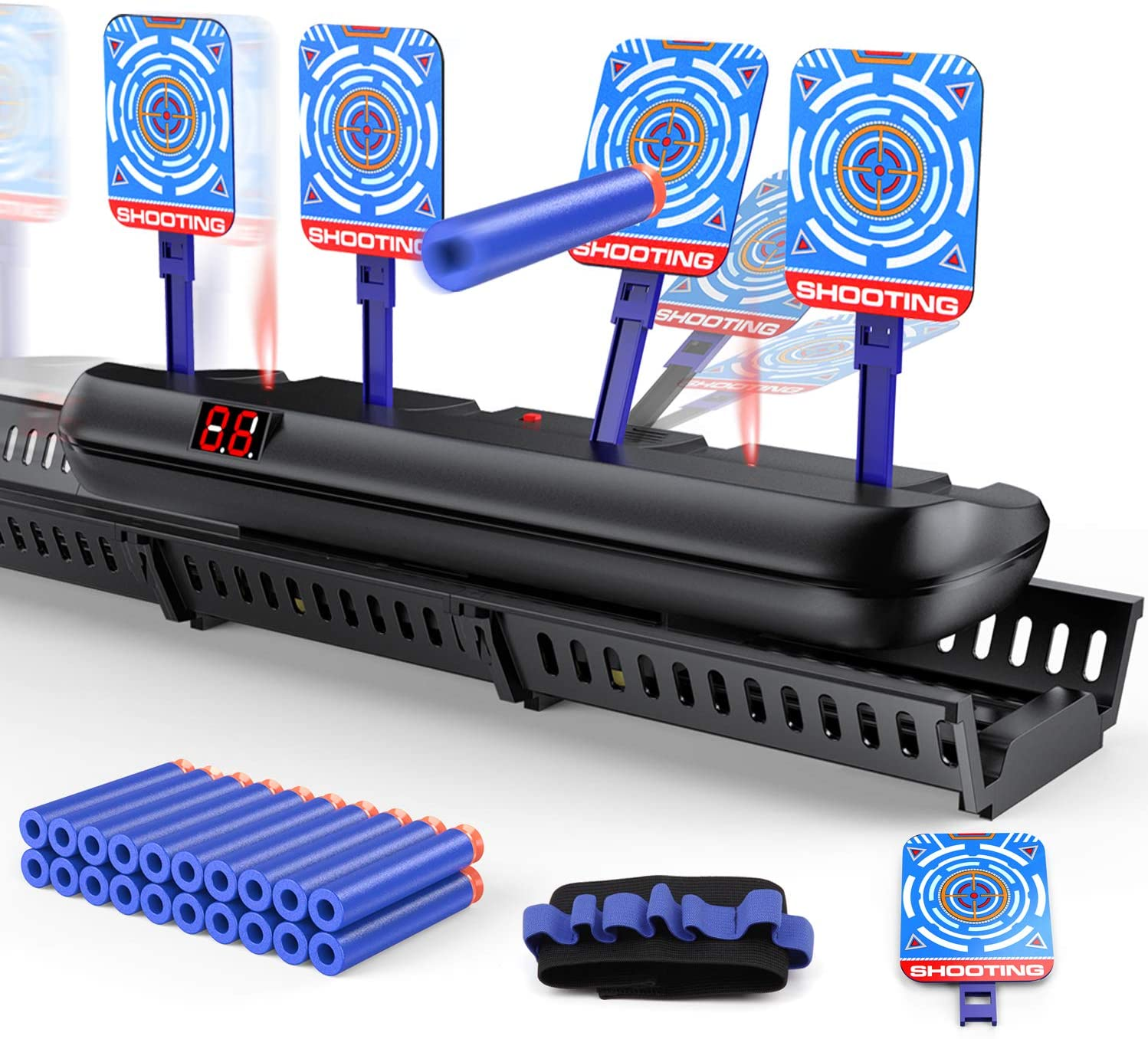 Hmount Upgraded Running Electric Scoring Auto Reset Shooting Digital Target for Nerf Guns Blaster Elite/Mega/Rival Series with 20 Pcs Refill Darts and 1 Hand Wrist Band and 1 Alternate Scoring Target