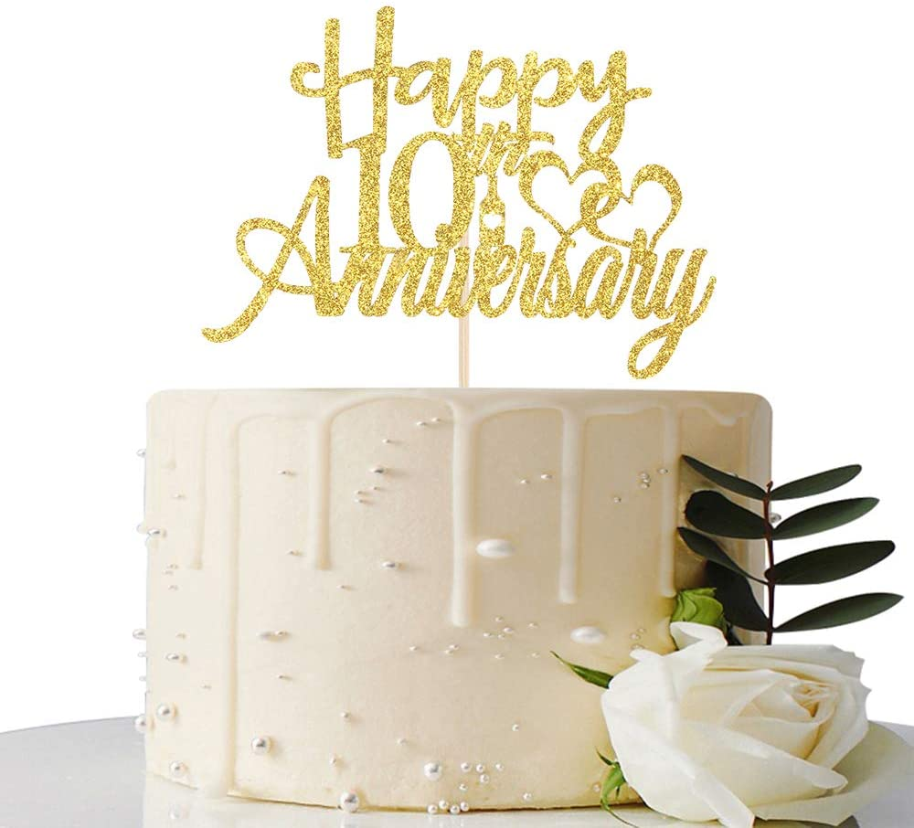 Maicaiffe Gold Glitter Happy 10th Anniversary Cake Topper - for 10th Wedding Anniversary / 10th Anniversary / 10th Birthday Party Decorations