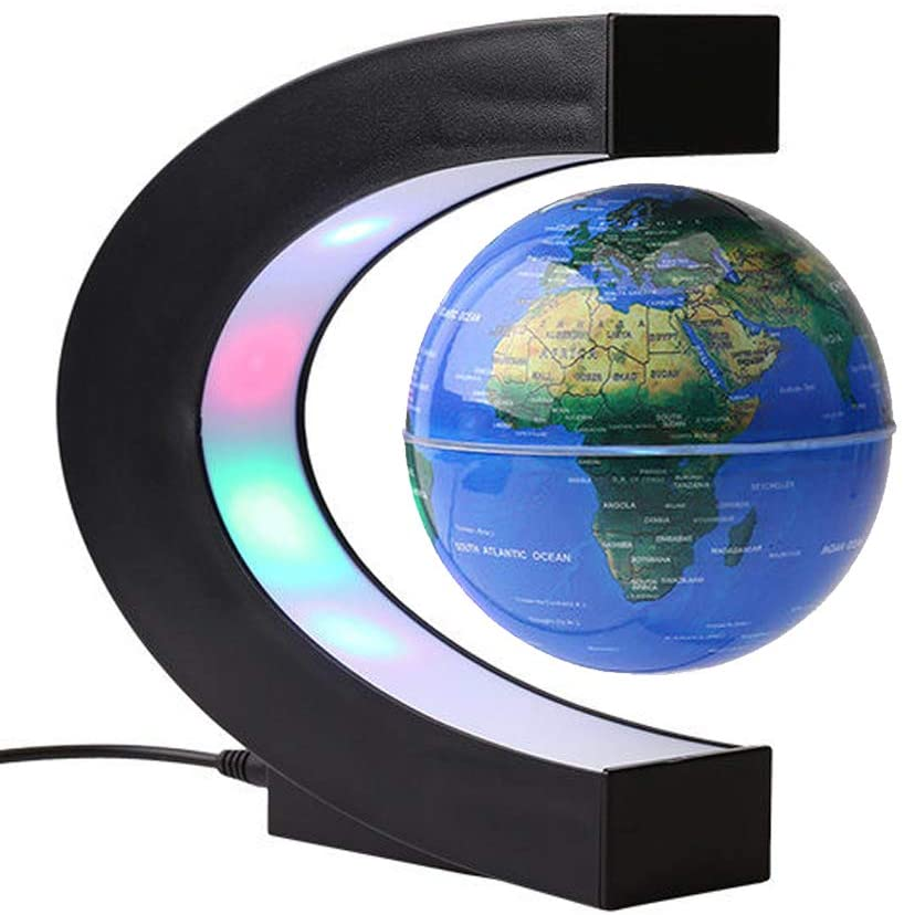FUGEST Magnetic Levitation Floating Globe World Map with C Shape Base (Blue 4