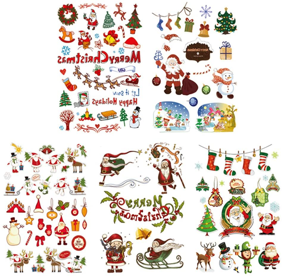 TOYMYTOY 5Pcs Christmas Temporary Tattoo Stickers Waterproof Christmas Party Decals for Kids(Random Pattern)