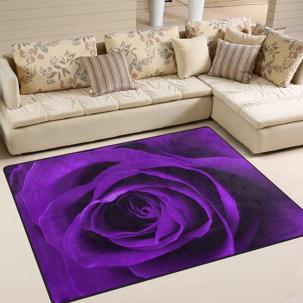ALAZA Purple Rose Flower Valentine's Day Area Rug Rugs for Living Room Bedroom 5'3