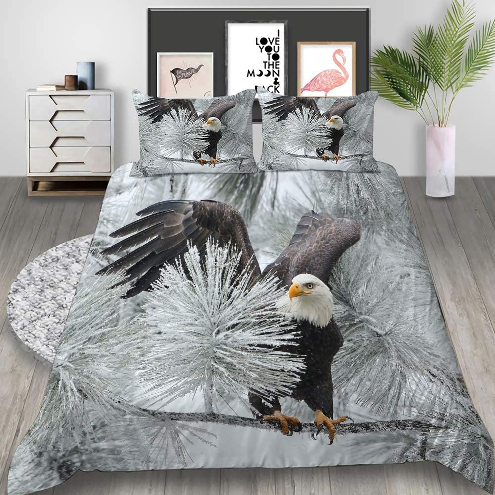 Ntioyg Blue Sky Eagle Duvet Cover Bedding Sets for Boys Kids Girls 3D Printing Ultra Soft Microfiber Comforter Cover Bed Set Without Sheet Twin(NO Comforter