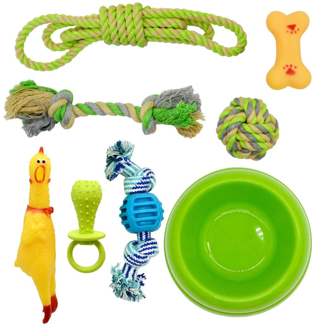 Dog Chew Toys Pack of 8, Dog Rope Toys Interactive Tug of War Dog Toy Cotton Rope Ball Rubber Screaming Chicken Squeaky Bone Dog Teething Toy Set for Puppies Small Dogs with Pet Food Water Bowl