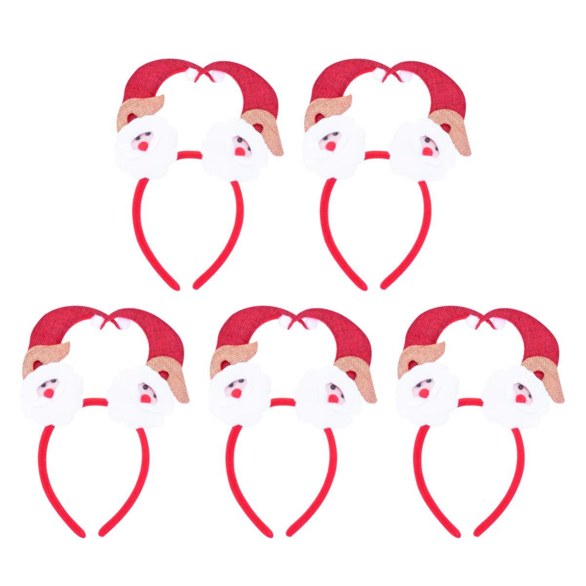 Amosfun 5PCS Christmas Hat Headband Decorative Plush Hair Hoops Holiday Cosplay Costume Party Hair Accessory (Santa)