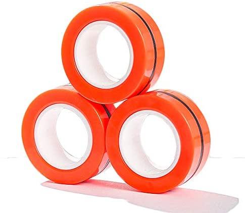 wellin international Magnetic Ring Finger Spinner Trendy Toy Fidget Spinning Anti-Stress Unzip Toy (Orange)