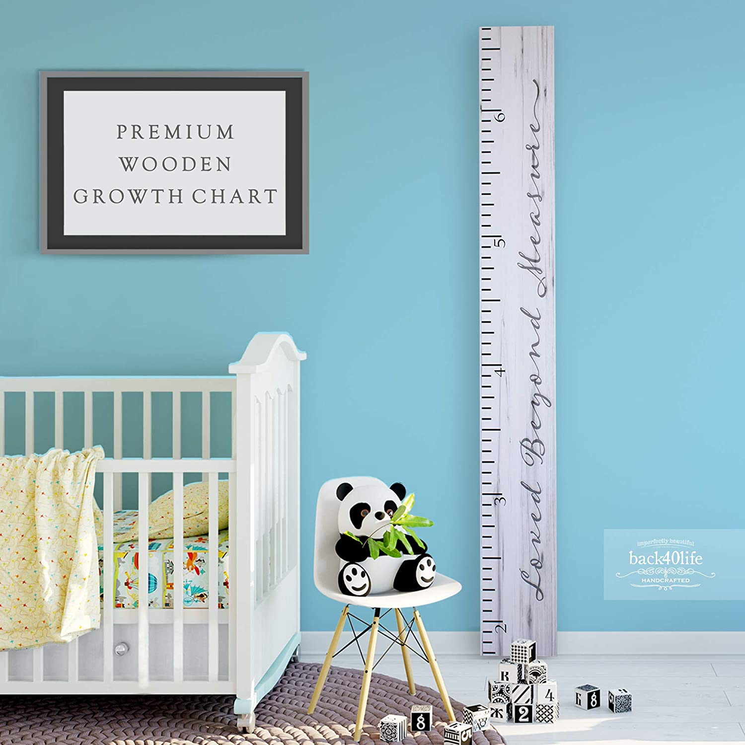 Back40Life Wooden Kids Growth Chart Ruler for Boys and Girls (Loved Beyond Measure) (Weathered White)