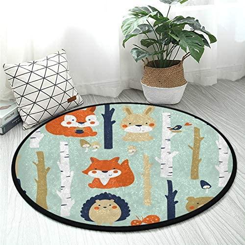 ALAZA Hedgehog Rabbit Fox Pine Tree Round Area Rug Non Slip Rug Floor Mat Carpet Entryway Hallway Sofa Living Room Bedroom Home Decor