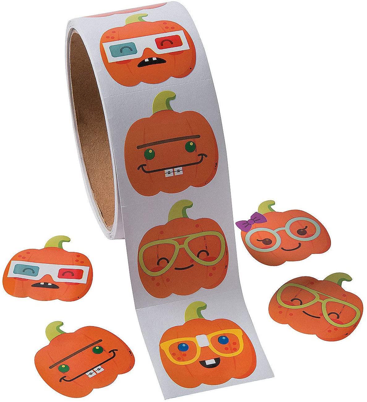 Fun Express Nerdy Pumpkin Roll Stickers for Halloween (100 Stickers)