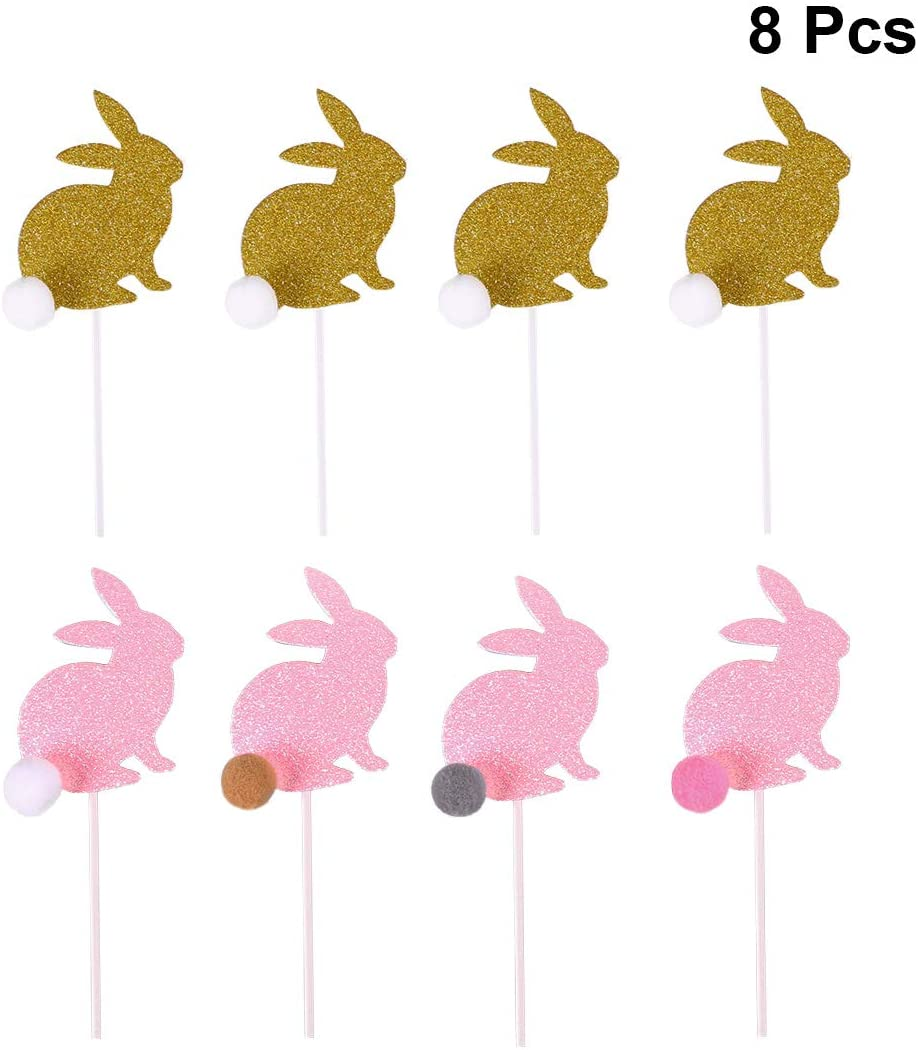 Amosfun 8PCS Easter Rabbit Cake Toppers Decorative Glittering Rabbit Cupcake Muffin Food Fruit Picks for Easter Baby Shower Birthday Party Favors (Pink and Golden)