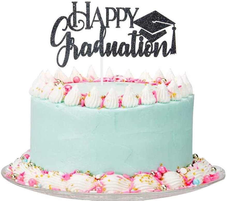 Black Glitter Happy Graduation Cake Topper - Congrats Graduation Party Decorations - Grad Party Supplies