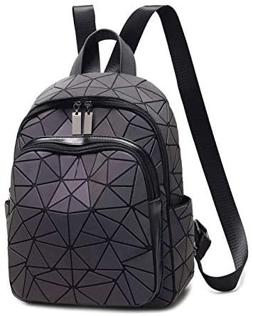 Geometric Backpack - Fashion Luminous Schoolbag Causal Daypack Leather Rucksack Student Bookbag