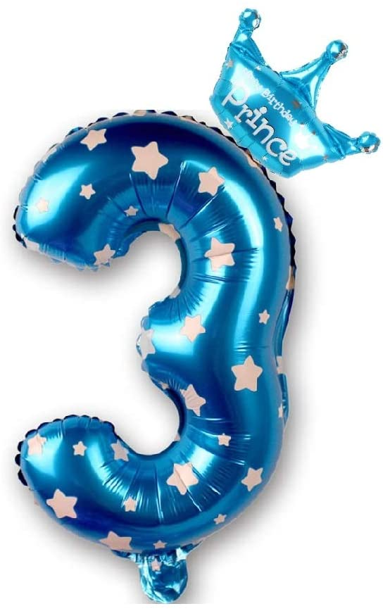 40 Inch Blue Number Foil Helium Big Birthday Balloon with One Crown Balloon for Party Decoration (Number 3)