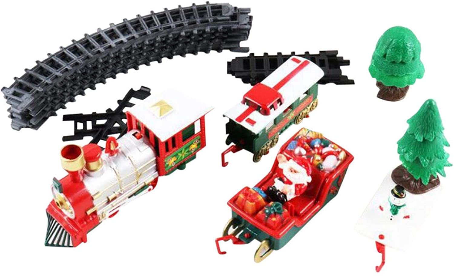 OLOPE Toy Train Set with Lights and Sounds Christmas Train Set Railway Tracks Battery Operated Toys Christmas Train Present for Kids Christmas Train Toys Set Around Tree