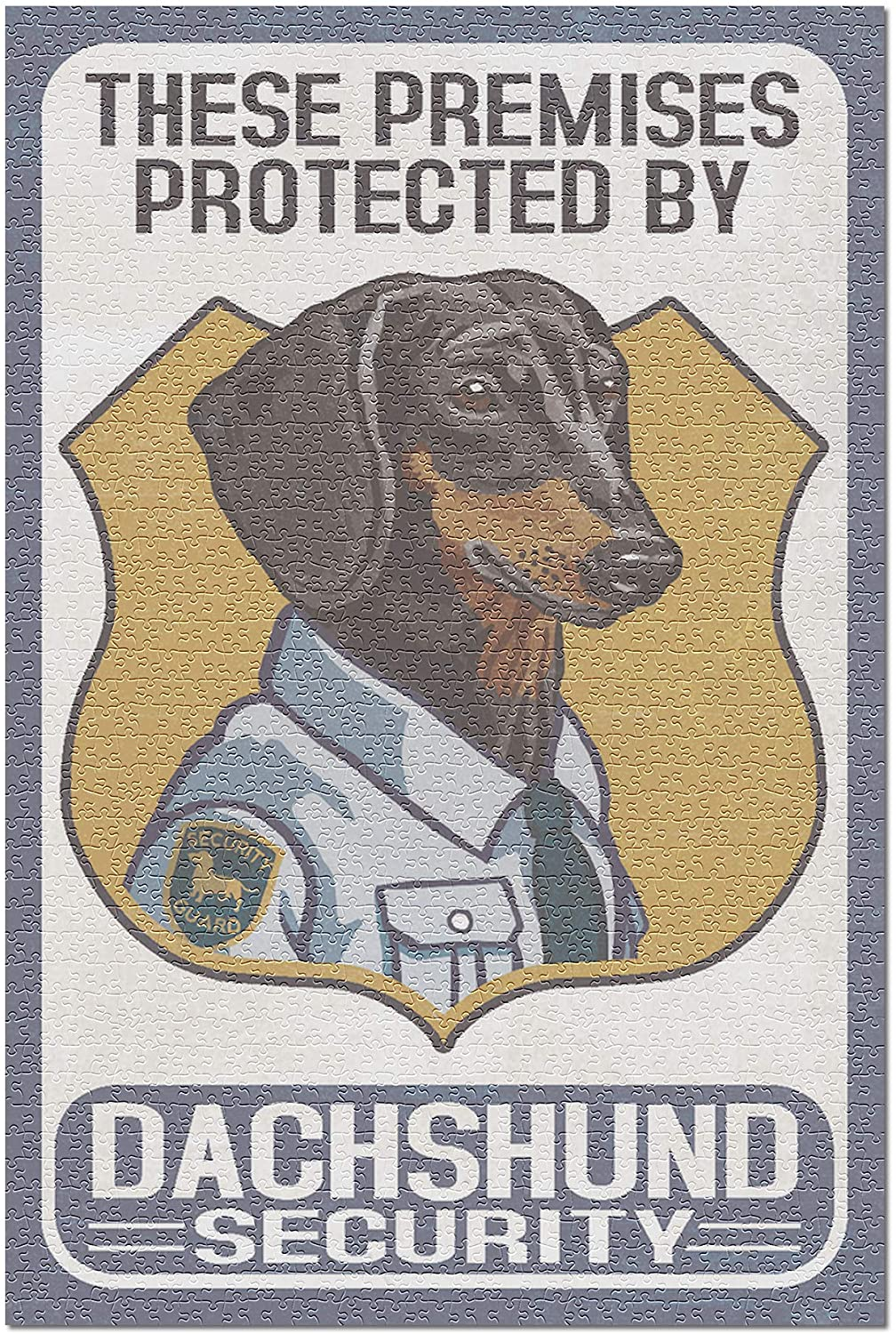 Dachshund Security - Dog Sign (Premium 1000 Piece Jigsaw Puzzle for Adults, 19x27)