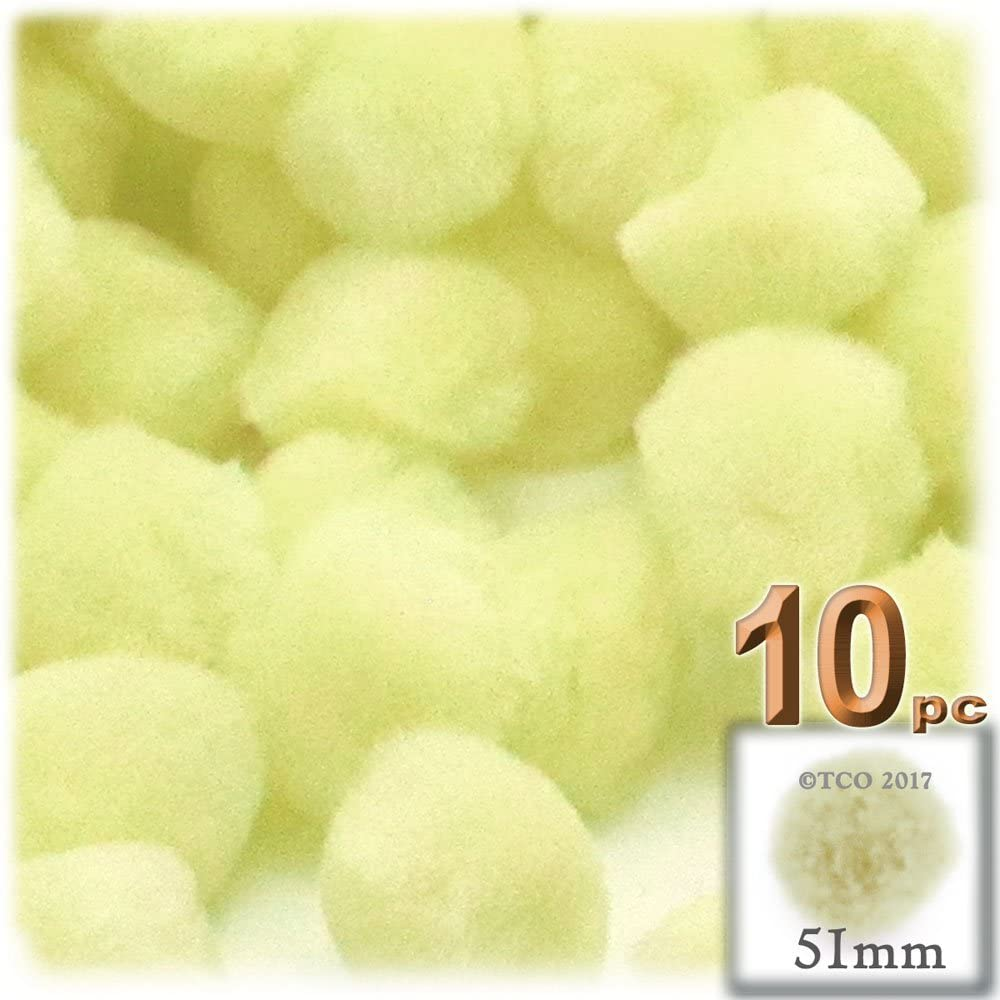The Crafts Outlet 10-Piece Multi Purpose Pom Poms, Acrylic, 51mm/About 2.0-inch, Round, Light Yellow