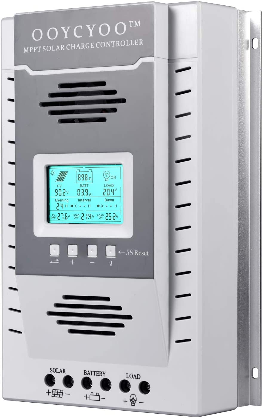 100Amp MPPT Solar Controller 100V Input Tracker for Lithium Iron Phosphate LiFePO4 (Lead Acid AGM) Charger, Solar Panel Maximum Input 1300W/2600W (12V/24V) Automatic (K100A)