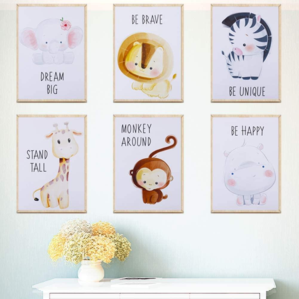 CEREALY 6 Pcs Nursery Wall Art Boys Woodland Nursery Decor Animal Canvas Prints Decor Baby Animal Pictures for Nursery Living Room Bedroom Office