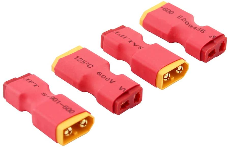 OliRC 4pcs No Wires Connector: Male XT60 XT-60 to Female T-Plug Deans Style Connector Adapter(C15-4)