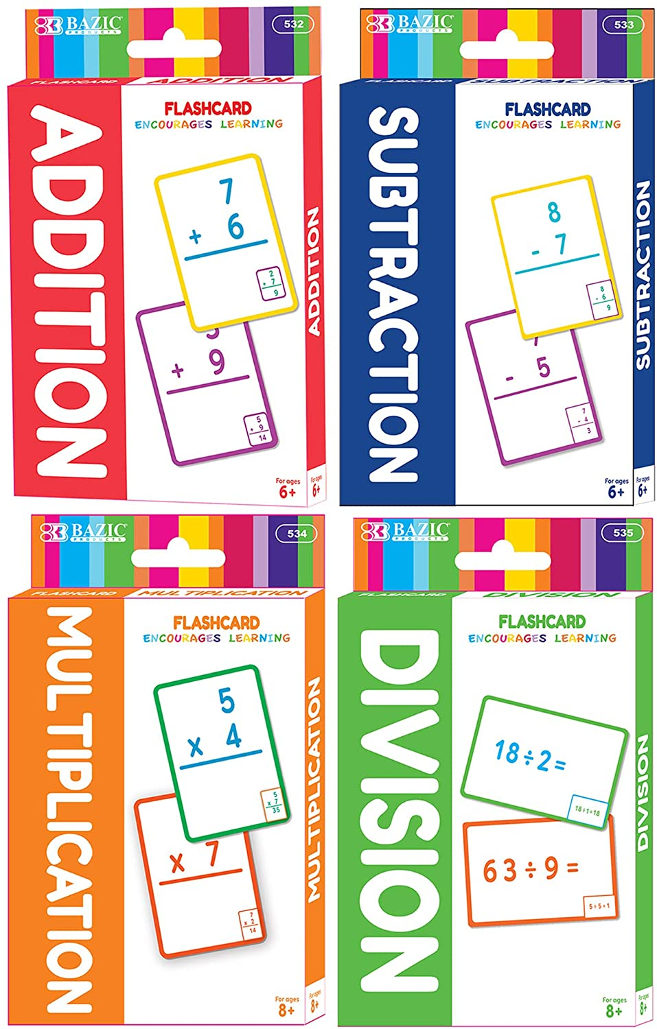 BAZIC Addition & Subtraction & Multiplication & Division Flash Cards, Number Math Calculation Card Game Education Learning, for Kids Activities at Home School Classroom (36/Pack), Set of 4-Pack