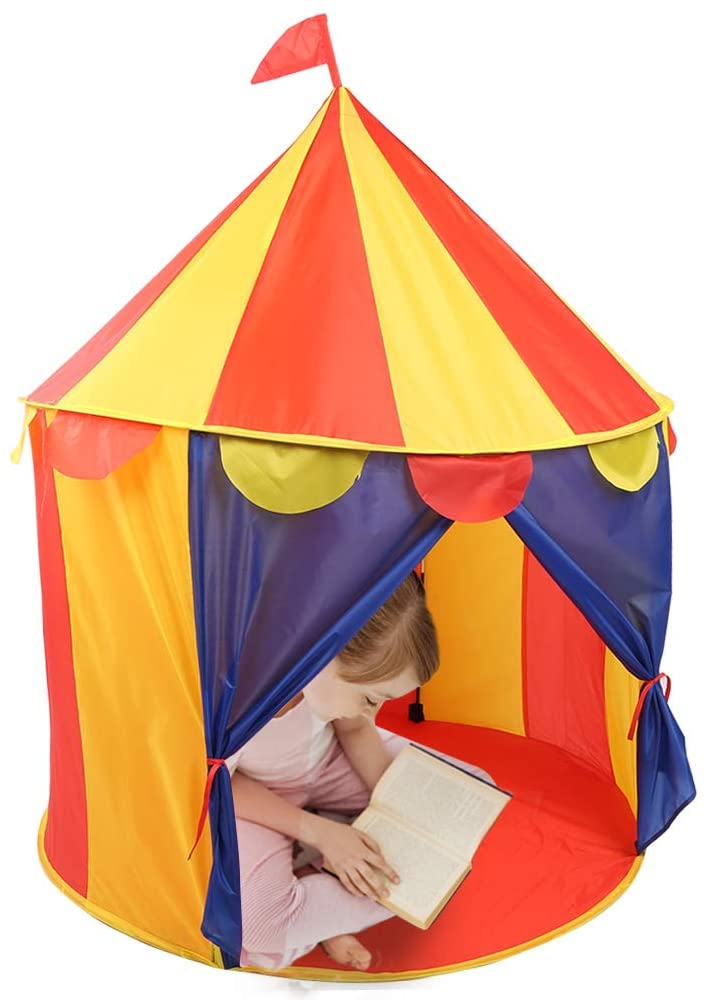 Kids Play Tent,Portable Foldable Freestanding Kids Circus Playhouse Childrens Play Tent with zipper for Boys and Girls Indoor and Outdoor Games (Yellow+Red)(1#)