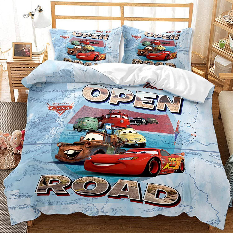 Ntioyg Racing Car McQueen Duvet Cover Sets for Boys Girls Lightning Bed Set Ultra Soft Microfiber Popular Cartoon Theme Kids Bedding Collection 3Piece (1Duvet Cover,2Pillowcases) Full