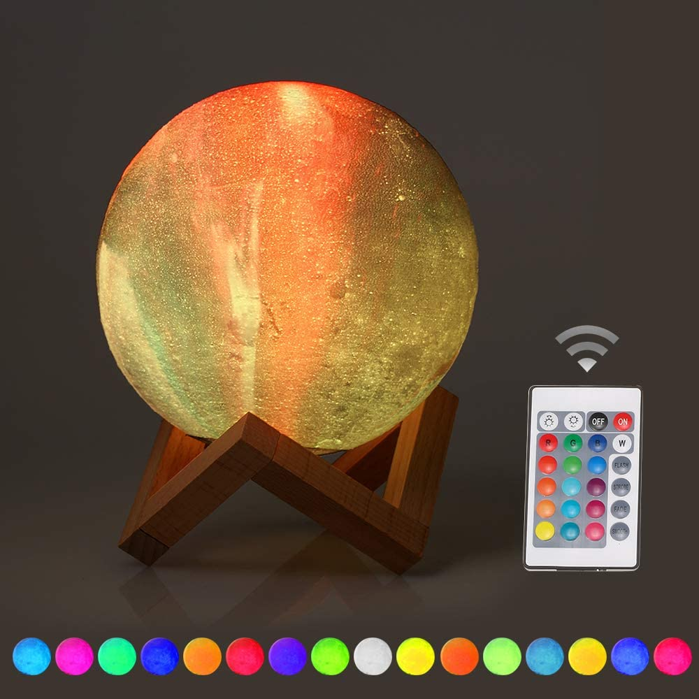 OWSOO 15cm/5.9in 3D Printing Star Moon Lamp USB Led Moon Shaped Table Night Light with Base 16 Colors Changing Touch and Remote Control Star Light Decor Gifts