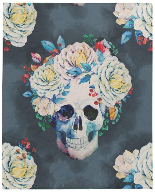 InterestPrint Watercolor Human Sugar Skulls with Flowers Soft Lightweight Quilt Blanket Summer Spring Autumn Coverlet Quilt for Men, Women, Boys, Girls, 60 x 70 Inches