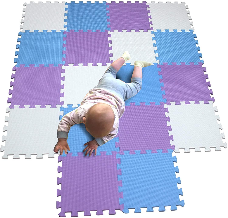 MQIAOHAM Children Puzzle mat Play mat Squares Play mat Tiles Baby mats for Floor Puzzle mat Soft Play mats Girl playmat Carpet Interlocking Foam Floor mats for Baby White Blue Purple 101107111