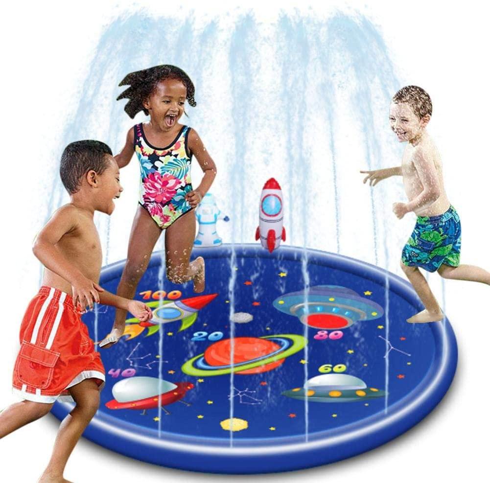 Heitaisi Inflatable Water Spray Mat,Splash Pad,Sprinkler for Kids for Outdoor Game Mat Sprinkler Mat Parent-Child Game Interactive Mat