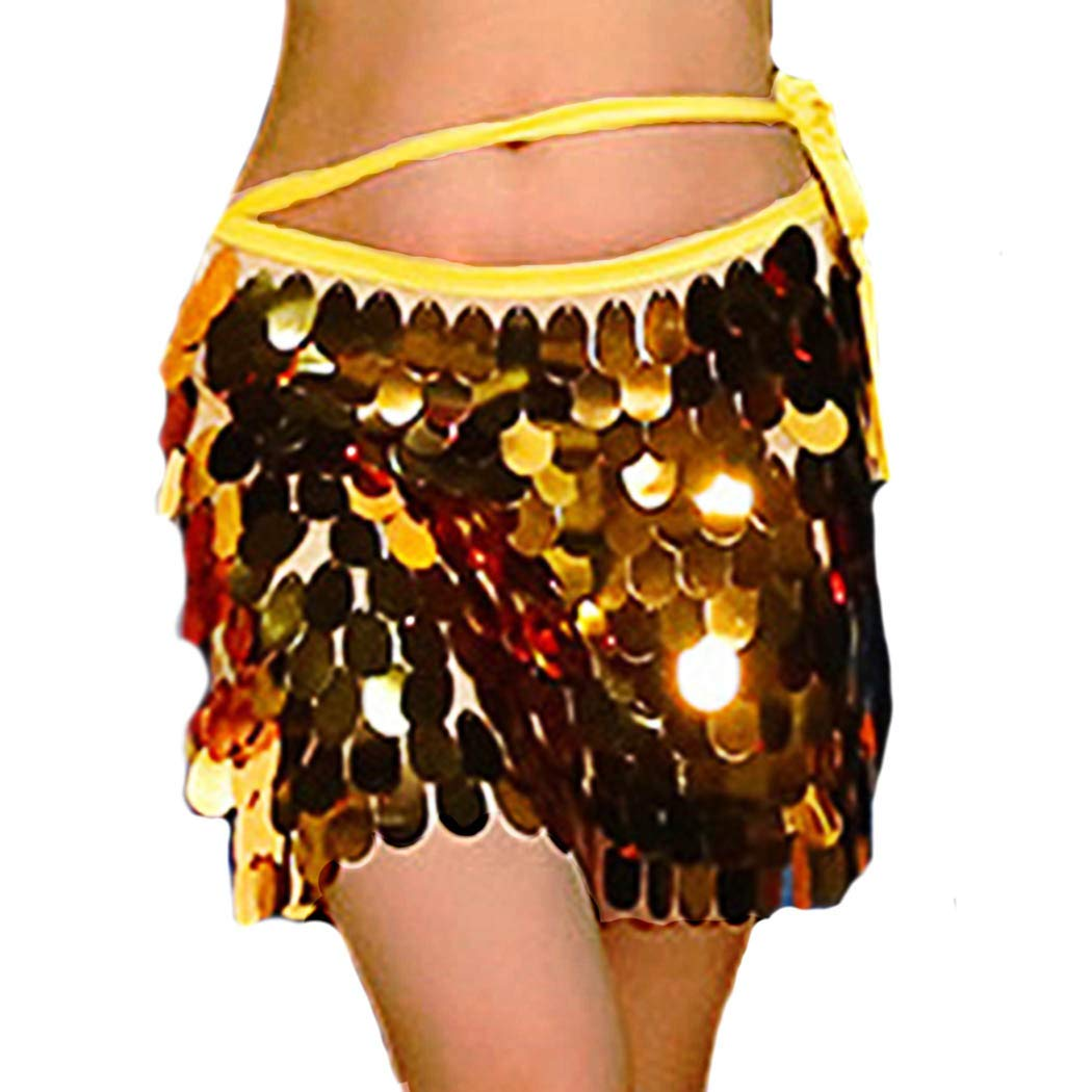 Nicute Dance Belly Skirt Sequin Hip Scarf Festival Wrap Outfit Costumes for Women and Girls (Gold)