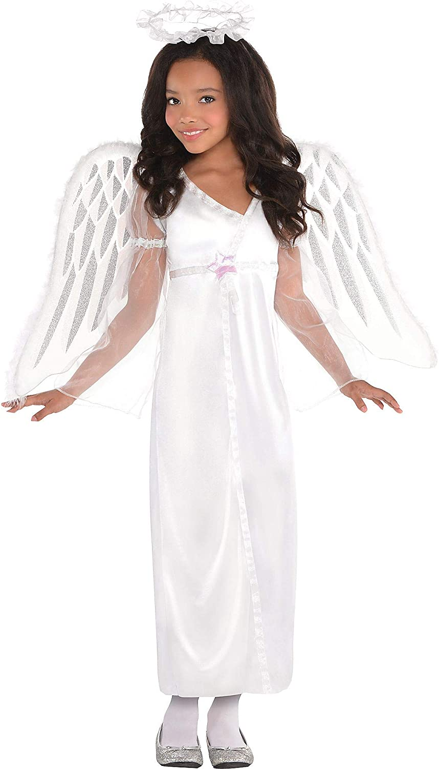 amscan Costumes USA Heavenly Angel Costume for Girls, Size Small, Includes a Silken White Dress and a Ruffled Halo Headband, Multicolor, Children Small