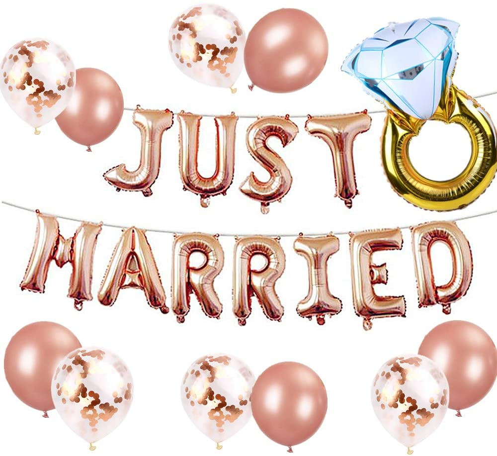 LaVenty Set of 12 Just Married Balloons Just Married Banner Bridal Shower Party Balloons Bridal Shower Party Decoration Wedding Party Decoration