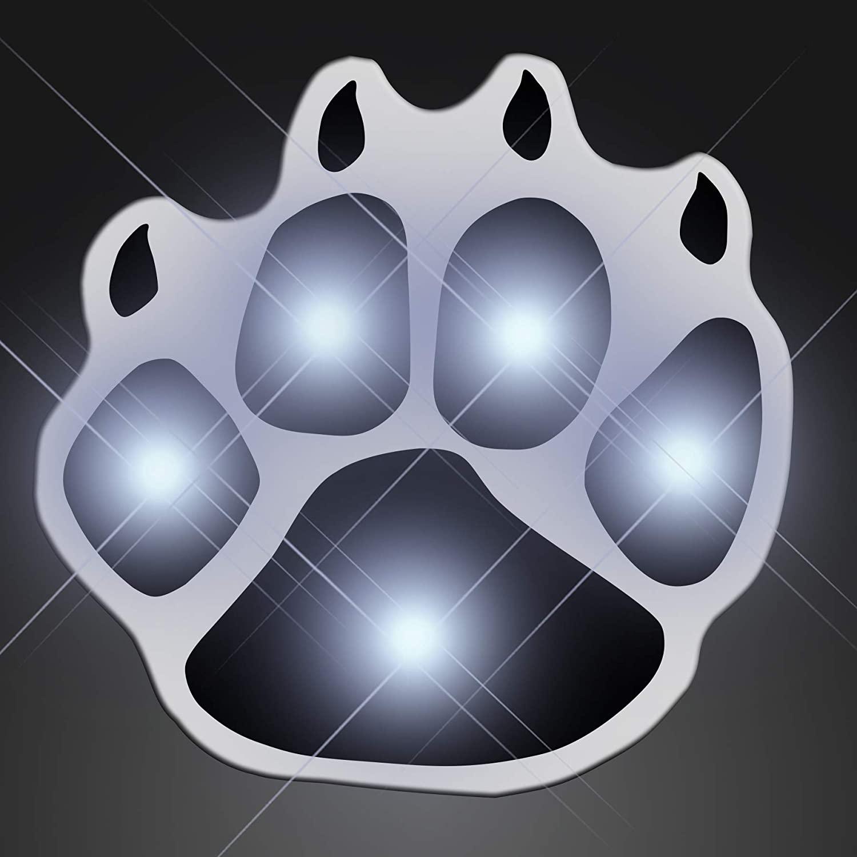 Flashing White Paw Light Up LED Lapel Pins (Set of 5)