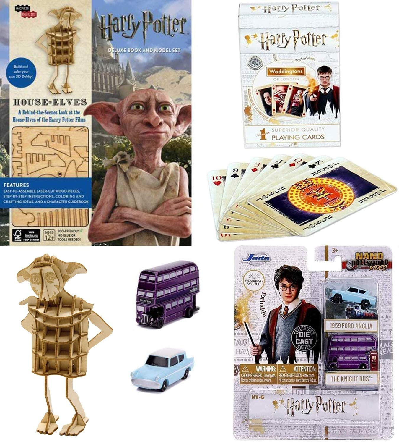 Flying Car Wizard Collectibles Compatible with Harry Potter Nano Rides Bundled with Knight Bus Purple & Ford Anglia Mini Hollywood Series + Theme Deck of Cards + House Elves Dobby Model Wood