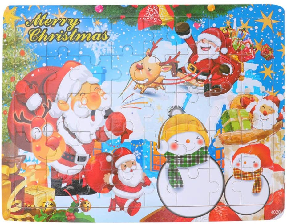 STOBOK Christmas Themed Wooden Puzzle Toy Educational Jigsaw Puzzle