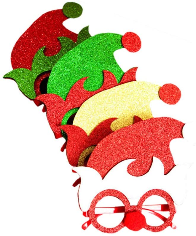 Amosfun 4pcs Christmas Sunglasses Glitter Elf Hat Eyeglasses Christmas Toys Elf Cosplay Costumes Accessories Christmas Party Favors Holiday Party Supplies for Kids