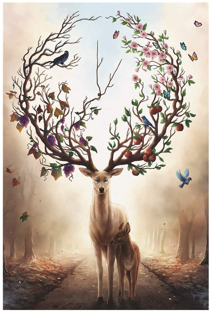 1000 Piece Jigsaw Puzzle, Cartoon elk for Adults