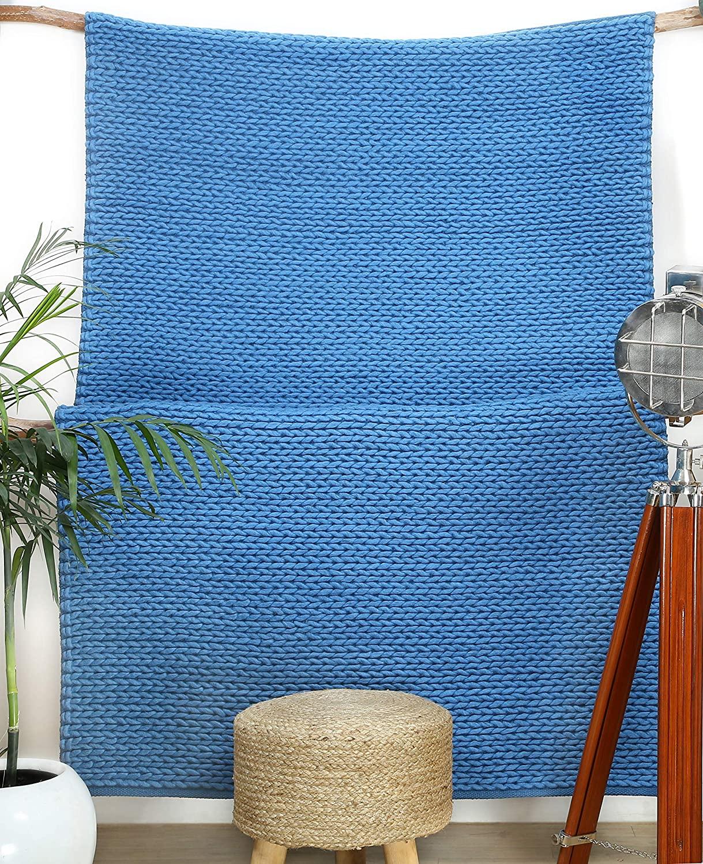 Wool Area Rug 4x6 ft Handmade Woven Rectangle Farmhouse Rug / Bedroom Rug Geometric Braided Boho Classic Carpet in Teal