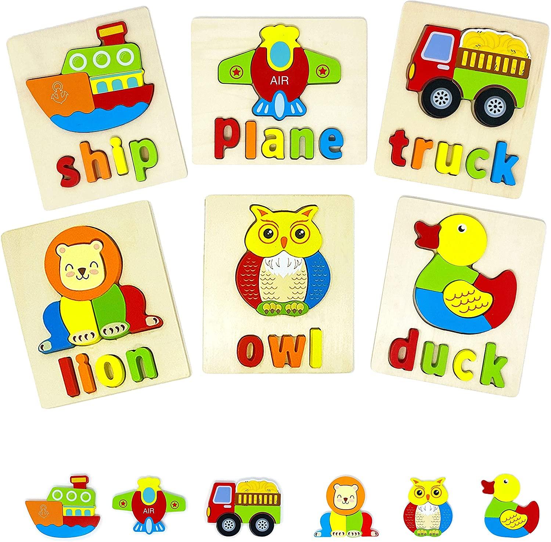 Tradixon Wooden Educational Preschool Toddlers Jigsaw Puzzles 6 Pack - Lion, Owl, Duck, Ship, Truck, Plane - Set 3
