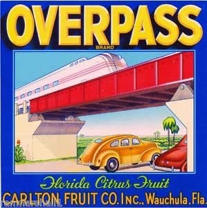 MAGNET Wauchula Overpass Cars and Train Orange Citrus Fruit Crate Magnet Art Print