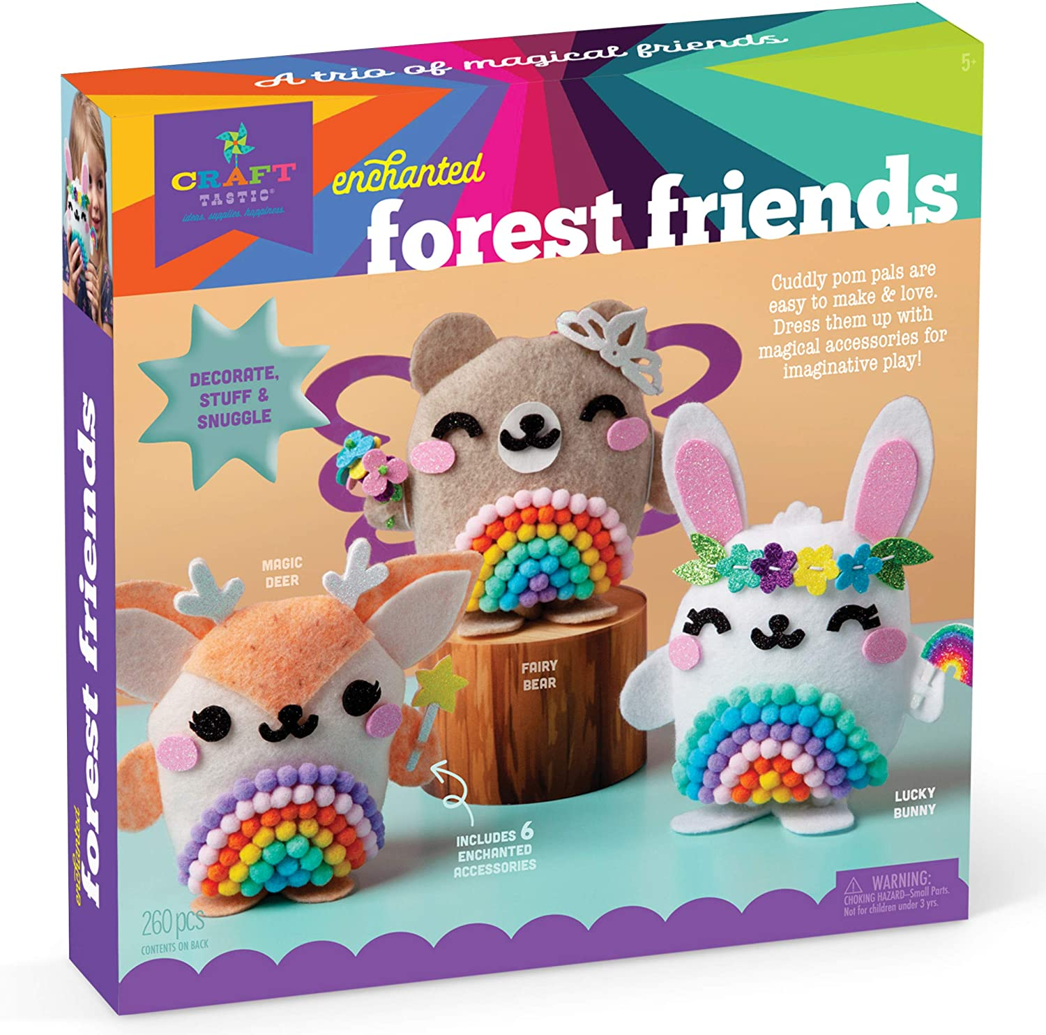 Craft-tastic – DIY Enchanted Forest Friends – Craft Kit Makes 3 Pompom Stuffed Animals – Fairy Bear, Lucky Bunny & Magic Deer