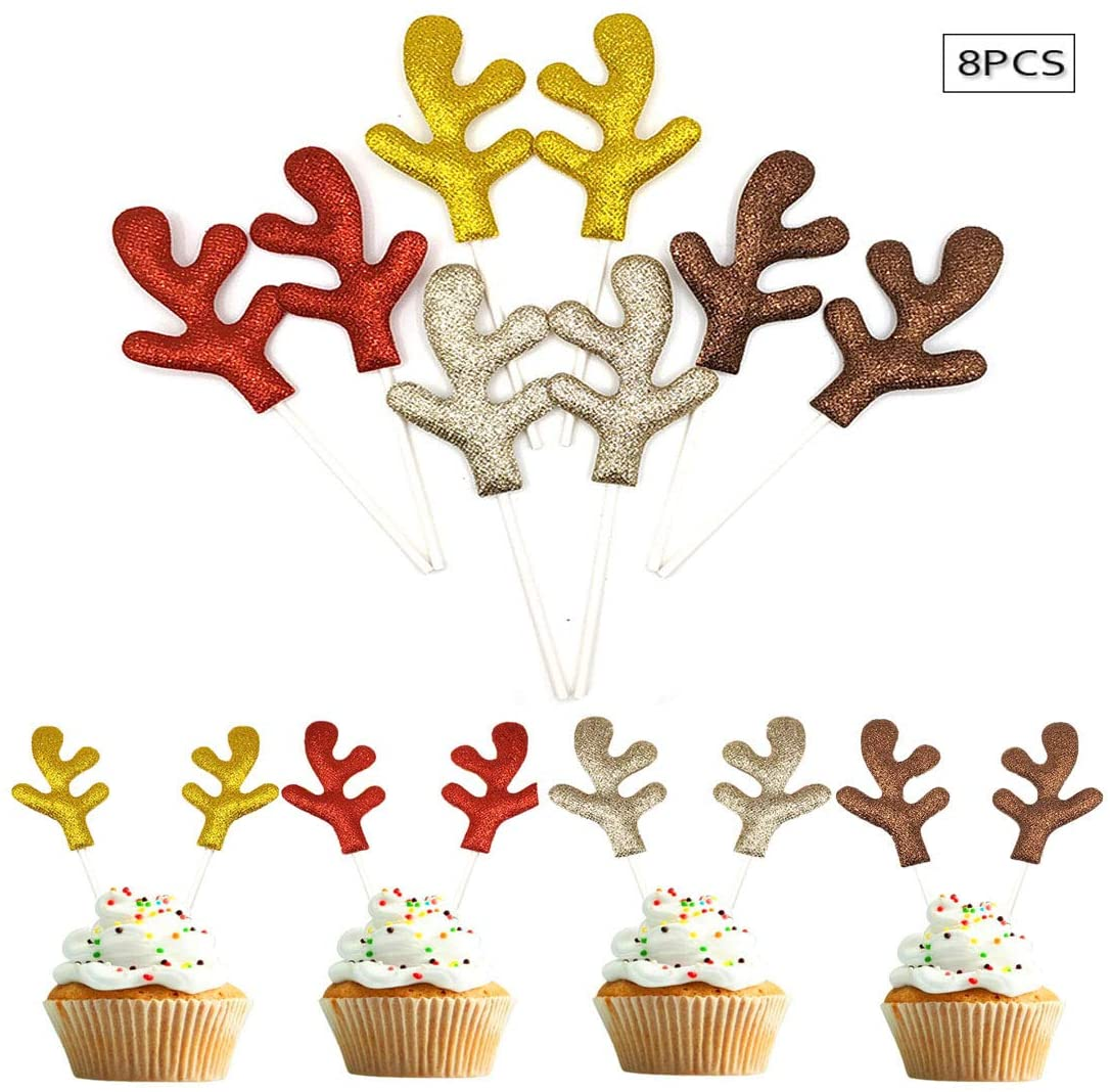 8 Pairs,Christmas party event shiny antler cake decorations, red gold silver brown baking supplies,9×13cm