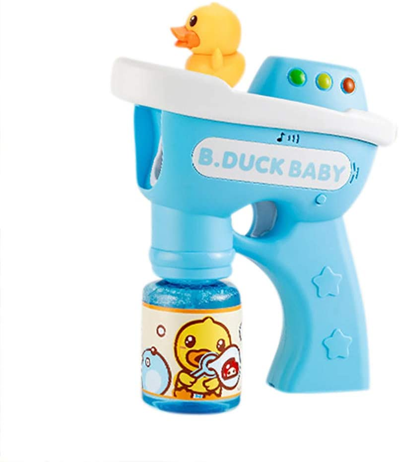 Aconka Bubble Toys Bubble Gun Soap Bubble Blower Child Music Lighting Press Type Little Yellow Ducks Bubble Machine Toy for Kids and Toddlers Summer Toy