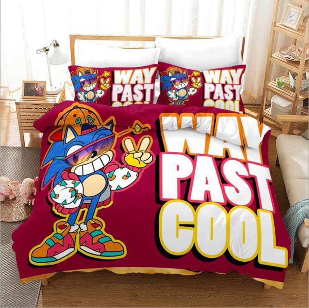 3D Cartoon Anime Sonic The Hedgehog Boys Bedding Duvet Cover Sets Soft Microfiber Bedding Set for Kids Teens King Size
